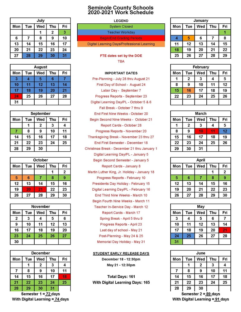 Williamson County School Calendar 2021 Seminole County School System